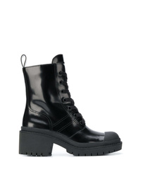 Botas planas con cordones de cuero negras de Marc Jacobs