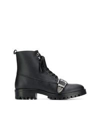 Botas planas con cordones de cuero negras de Trussardi Jeans