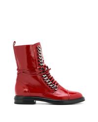 Botas planas con cordones de cuero rojas de Casadei