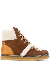 Botas planas con cordones marrónes de See by Chloe