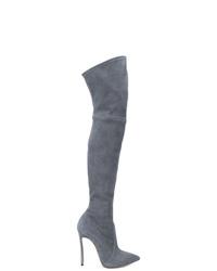 Botas sobre la rodilla de ante grises de Casadei