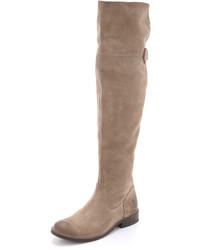 Botas sobre la rodilla de ante grises de Frye