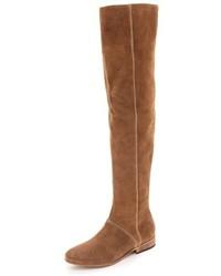 Botas sobre la rodilla de ante marrón claro