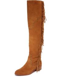 Botas sobre la rodilla de ante marrón claro de Frye