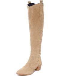 Botas sobre la rodilla de ante marrón claro de Rebecca Minkoff