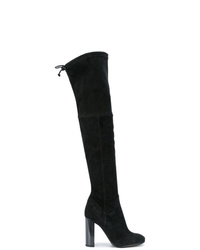 Botas sobre la rodilla de ante negras de Baldinini