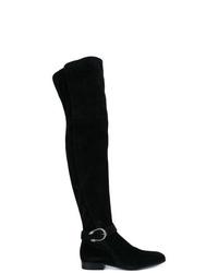 Botas sobre la rodilla de ante negras de Gucci