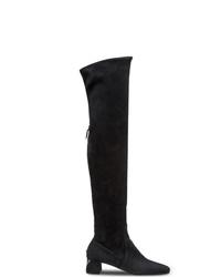 Botas sobre la rodilla de ante negras de Prada