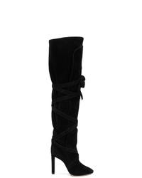 Botas sobre la rodilla de ante negras de Saint Laurent
