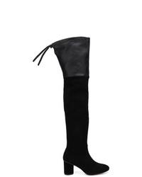 Botas sobre la rodilla de ante negras de Stuart Weitzman