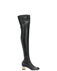 Botas sobre la rodilla de cuero negras de Alexander McQueen