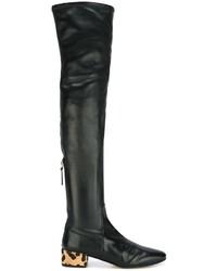 Botas sobre la rodilla de cuero negras de Francesco Russo