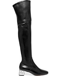 Botas sobre la rodilla de cuero negras de Miu Miu