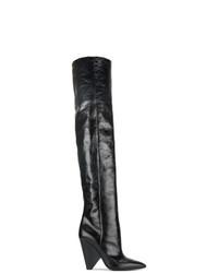 Botas sobre la rodilla de cuero negras de Saint Laurent