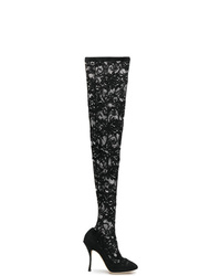 Botas sobre la rodilla de lona negras de Dolce & Gabbana