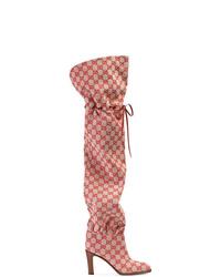 Botas sobre la rodilla de lona rojas de Gucci