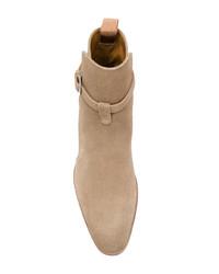 Botines chelsea de ante marrón claro de Saint Laurent