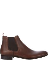 Botines chelsea de cuero en marrón oscuro