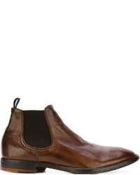 Botines chelsea de cuero marrónes de Officine Creative