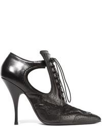 Botines con Cordones de Cuero con Recorte Negros de Givenchy