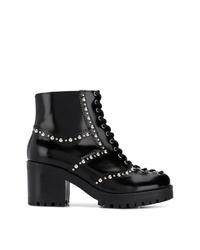 Botines con cordones de cuero con tachuelas negros de McQ Alexander McQueen