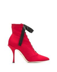 Botines con cordones de cuero rojos de Dolce & Gabbana