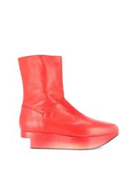 Botines con cuña de cuero rojos de Andreas Kronthaler For Vivienne Westwood