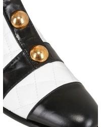 Botines de Cuero Blancos y Negros de Moschino