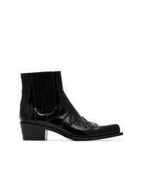 Botines de cuero bordados negros de Calvin Klein 205W39nyc