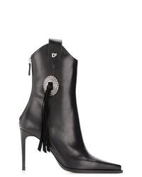 Botines de cuero con adornos negros de Dsquared2