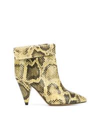 Botines de cuero con print de serpiente amarillos de Isabel Marant