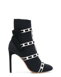 Botines de cuero con tachuelas negros de Valentino