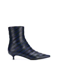 Botines de cuero estampados azul marino de Sonia Rykiel