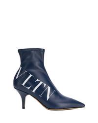 Botines de cuero estampados azul marino de Valentino