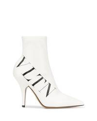 Botines de cuero estampados blancos de Valentino