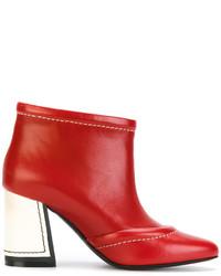 Botines de cuero rojos de Marni