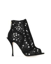 Botines de lona con recorte negros de Dolce & Gabbana