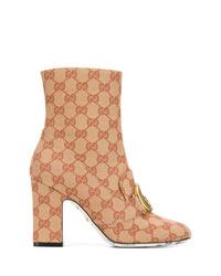Botines de lona marrón claro de Gucci