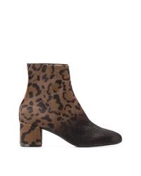 Botines de pelo de becerro de leopardo en marrón oscuro de Salvatore Ferragamo