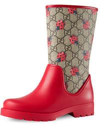 Bottes de pluie imprimées rouges Gucci