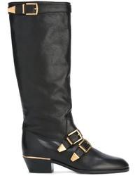 Bottes hauteur genou en cuir noires Chloé