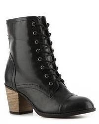 Bottines à lacets en cuir noires
