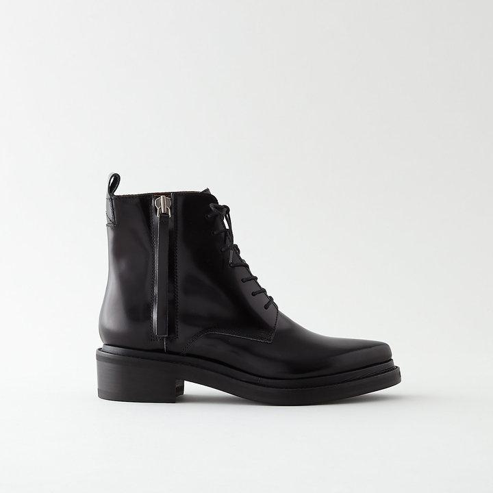 Acne Boots à Lacets En Cuir Commander En Ligne Pas Cher Paiement De Visa À Vendre Y9D14Q5b
