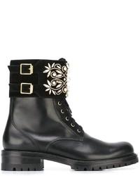 Bottines à lacets en cuir noires Rene Caovilla