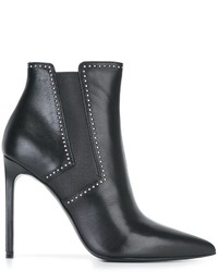 Bottines en cuir à clous noires Saint Laurent