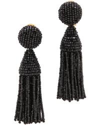 Boucles d'oreilles noires Oscar de la Renta