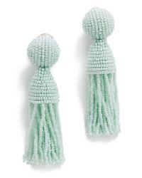 Boucles d'oreilles ornées de perles vertes menthe Oscar de la Renta
