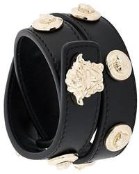 Bracelet en cuir à clous noir Versace
