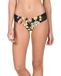 Braguitas de bikini de malla con print de flores negras de Volcom