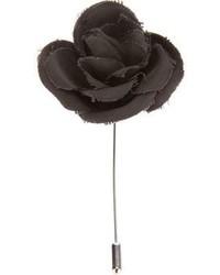 Broche de solapa con print de flores negro